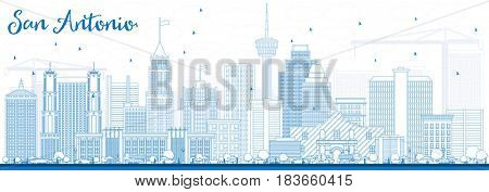 Outline San Antonio Skyline with Blue Buildings. Business Travel and Tourism Concept with Modern Architecture. Image for Presentation Banner Placard and Web Site.