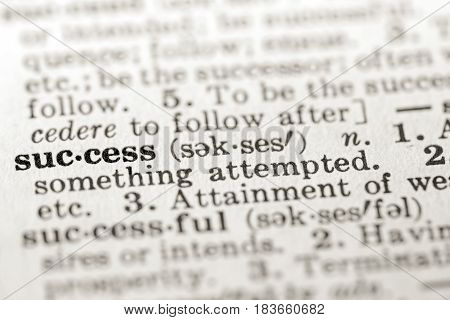 Definition of word success in dictionary selective focus