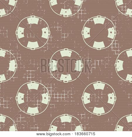 Vector Seamless Patterns Backround With Life Preserver Creative Geometric Vintage Backgrounds, Nauti