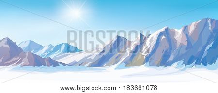 Vector  winter snow mountains and blue sky background.