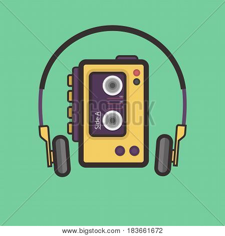 Retro Cassete Player Flat Style Vector Icon. Easy Scalable Vintage Music Player from 80s.