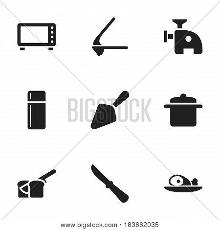 Set Of 9 Editable Cook Icons. Includes Symbols Such As Bakery, Meat, Crusher And More. Can Be Used For Web, Mobile, UI And Infographic Design.