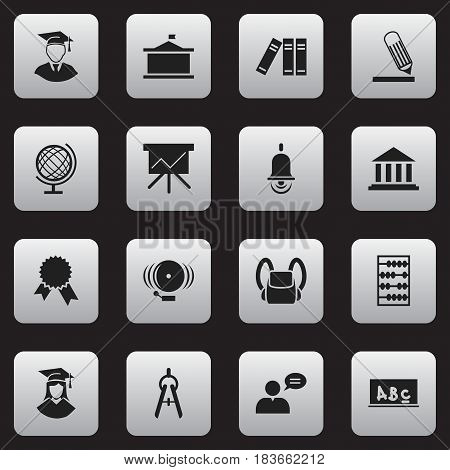 Set Of 16 Editable Science Icons. Includes Symbols Such As Chart Board, Univercity, Math Tool And More. Can Be Used For Web, Mobile, UI And Infographic Design.