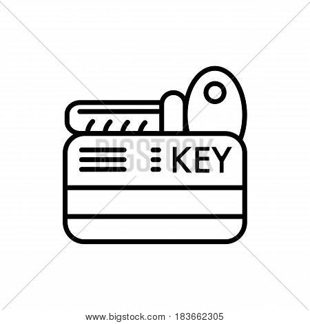 hotel key vector icon. Isolated on white. Outline style. eps 10