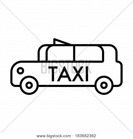 Taxi car vector icon. Outline design on white background. eps 10