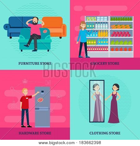 People in shop square concept with workers and customers in different stores in flat style vector illustration