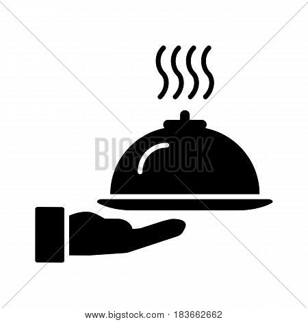 Restaurant cloche in hand the waiter icon flat. Illustration isolated on white background. eps 10