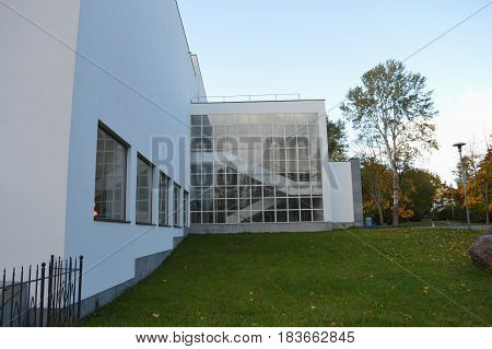 Modern building of Aalto Library in Wyborg city Russia