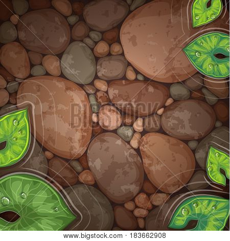 natural pond with aquatic plant top view vector illustration