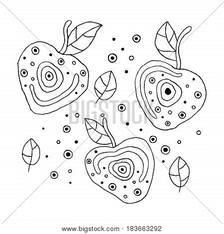 Set Of Vector Hand Drawn Childish Juicy, Fruits. Cute Childlike Cherry With Leaves, Seeds, Drops. Do