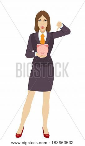 Businesswoman holding a piggy bank and showing thumb down gesture as rejection symbol. Full length portrait of businesswoman character in a flat style. Vector illustration.