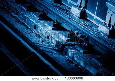 detail shot of railroad Tracks,transportation concepts .
