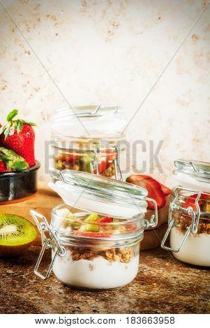 Yogurt With Granola And Fruits