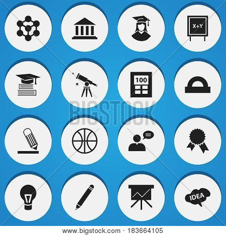 Set Of 16 Editable Education Icons. Includes Symbols Such As Writing, Education, Museum And More. Can Be Used For Web, Mobile, UI And Infographic Design.