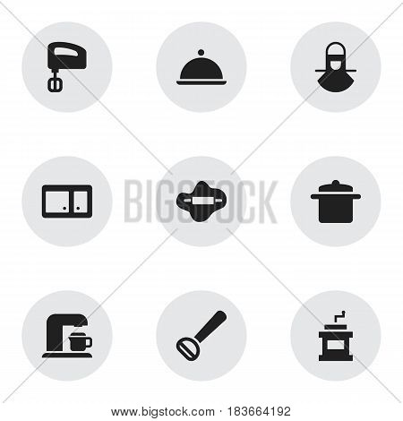 Set Of 9 Editable Cook Icons. Includes Symbols Such As Salver, Cookware, Husker And More. Can Be Used For Web, Mobile, UI And Infographic Design.