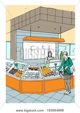 Fish department hand drawn colorful illustration. store interior with shoppers