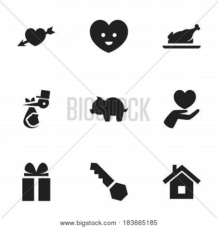 Set Of 9 Editable Kin Icons. Includes Symbols Such As Fried Chicken, Love, Heart And More. Can Be Used For Web, Mobile, UI And Infographic Design.