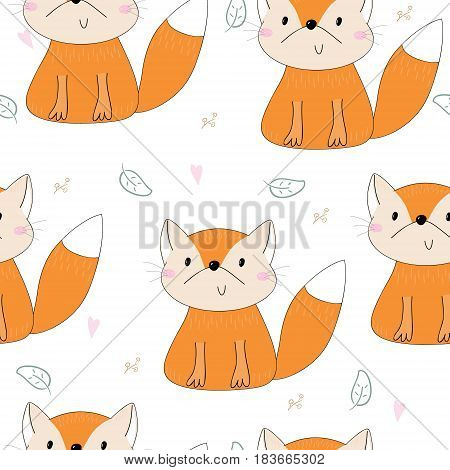Lovely seamless pattern with cute foxes. Awesome background in bright colors in vector