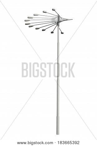 An old street lamppost isolated over white