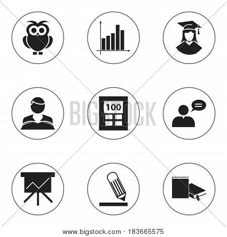 Set Of 9 Editable Science Icons. Includes Symbols Such As Thinking Man, Bookmark, Chart Board And More. Can Be Used For Web, Mobile, UI And Infographic Design.