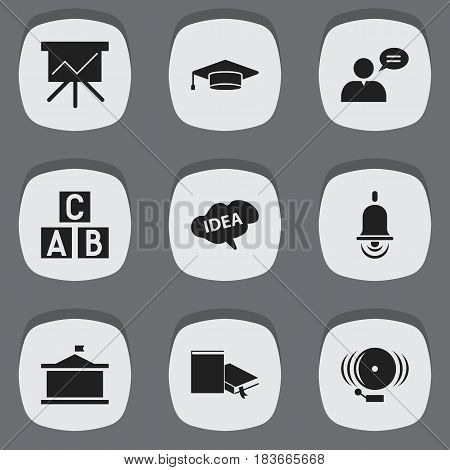 Set Of 9 Editable Education Icons. Includes Symbols Such As Mind, Thinking Man, Bookmark And More. Can Be Used For Web, Mobile, UI And Infographic Design.