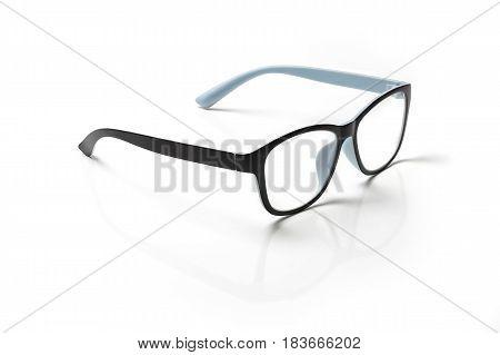 Computer eyeglasses closeup isolated on white background.