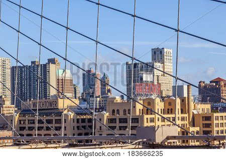 View From  Brooklyn Bridge In New York To Brooklyn