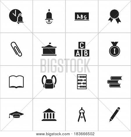 Set Of 16 Editable Graduation Icons. Includes Symbols Such As Arithmetic, Book, Staple And More. Can Be Used For Web, Mobile, UI And Infographic Design.