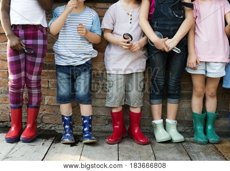 Group of children standing in a row
