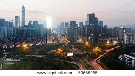 urban traffic view with cityscape in modern city of China.