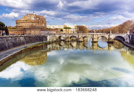 Castel Sant'Angelo in Rome viewed from Vittorio Emanuele Bridge on a cloudy day