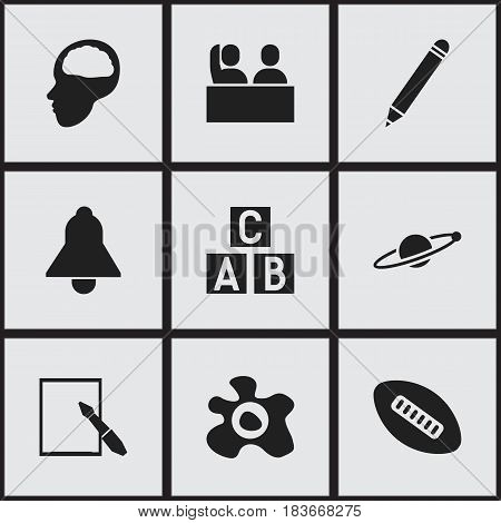 Set Of 9 Editable Education Icons. Includes Symbols Such As Oval Ball, Omelette, Alphabet Cube And More. Can Be Used For Web, Mobile, UI And Infographic Design.