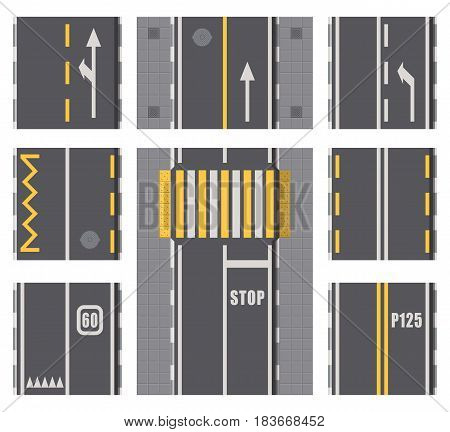 Collection of roads highway top view elements. Detailed isolated road plan surface. Two lane traffic. Vector illustration.