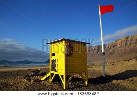 Red Flag Water Lifeguard Chair Cabin  Beach  Musk Pond  Coastline And Summer