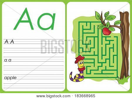 Alphabet A-Z - a - apple puzzle Worksheet, Exercises for kids