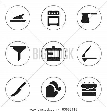 Set Of 9 Editable Cooking Icons. Includes Symbols Such As Sword, Fried Chicken, Stove And More. Can Be Used For Web, Mobile, UI And Infographic Design.