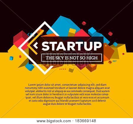 Vector creative template with illustration of three dimensional abstract colorful cube shapes and word startup with text on bright background. Startup business concept. 3d fun style design of word startup for web page, site, banner, presentation