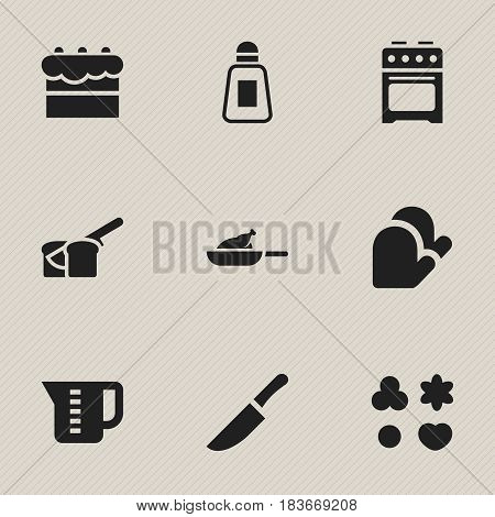 Set Of 9 Editable Cook Icons. Includes Symbols Such As Bakery, Shortcake, Mensural And More. Can Be Used For Web, Mobile, UI And Infographic Design.