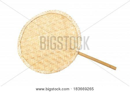 Asian Thai Round Shaped Of Handmade Rattan Fan, Isolated