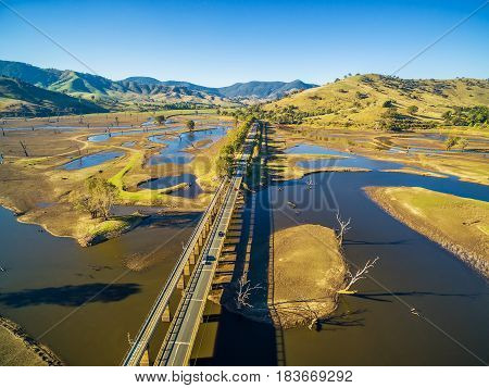 Aerial View Of Murray Valley Highway And Bridge Over Lake Hume, Victoria, Australia