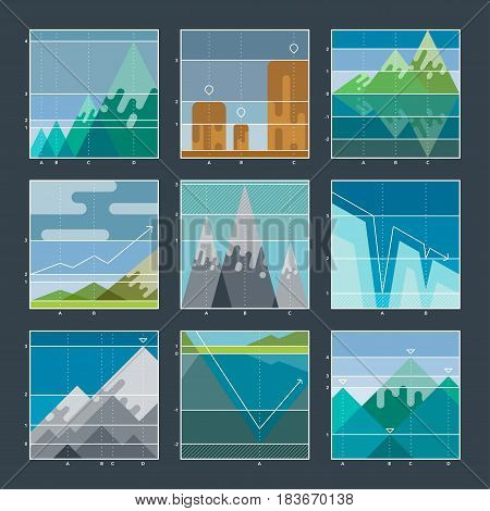 High mountain infographic diagrams and charts icons. Elevation grid. High mountain profile graph badges. Vector Illustration for business. Flat with thin lines.
