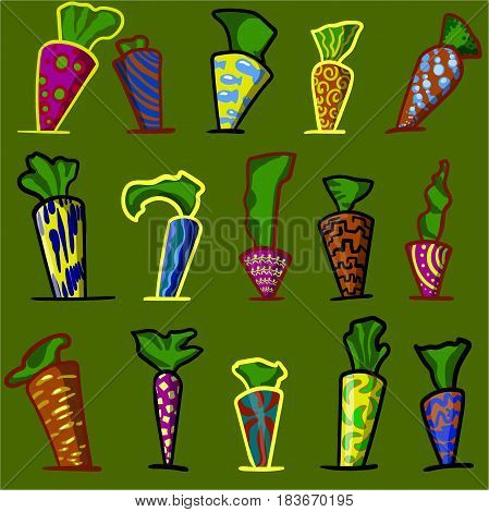 An abstract image consisting of a multitude of colorful objects, similar to carrots.