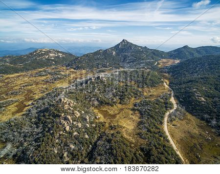 The Horn Peak And Winding Road, Mount Buffalo National Park - Beautiful Landscape. Victoria, Austral