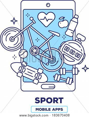 Vector creative illustration of mobile phone with bicycle, heart, skateboard, dumbbells on white background. Health application concept with heading. Thin line art flat design of sport mobile app for web, site, banner