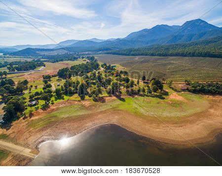 Aerial Rural Landscape Victoria Australia.  Mount Buffalo And Lake Buffalo At High Noon