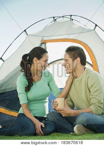 Hispanic couple camping