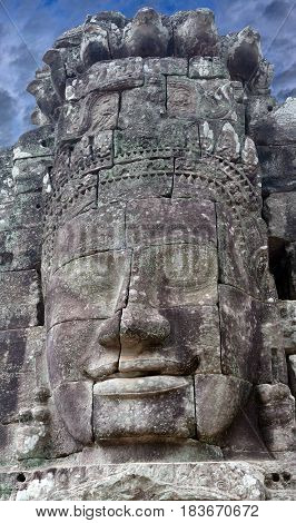 Ancient stone reliefs at the Prasat Bayon temple (late 12th - early 13th century) in Angkor Thom Cambodia