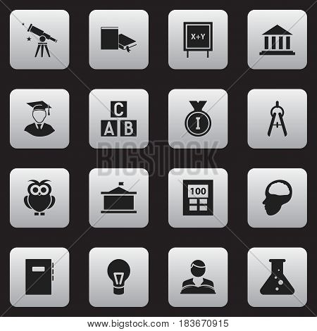 Set Of 16 Editable School Icons. Includes Symbols Such As Lamp, Night Fowl, Univercity And More. Can Be Used For Web, Mobile, UI And Infographic Design.