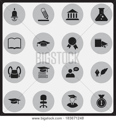 Set Of 16 Editable Science Icons. Includes Symbols Such As Literature, Writing, Bookmark And More. Can Be Used For Web, Mobile, UI And Infographic Design.