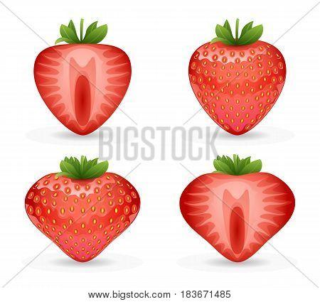 3d realistic fruit strawberry design vector illustraton